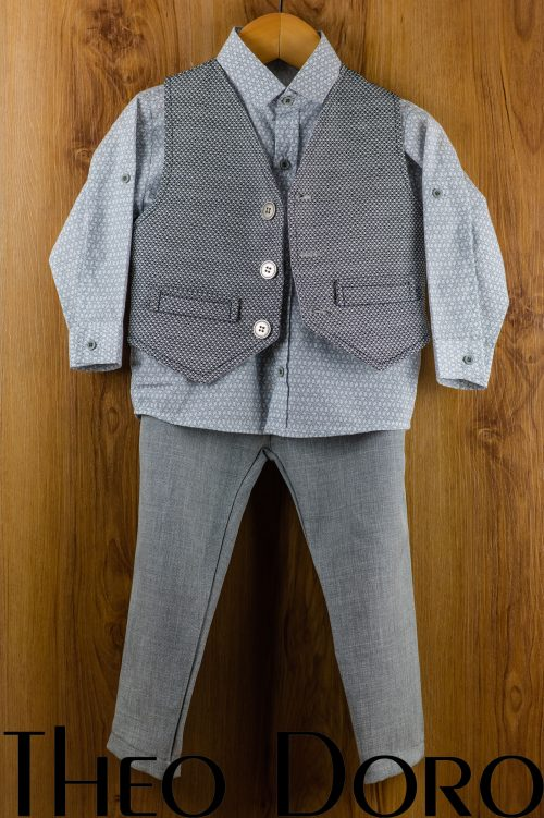 Baby Boy Baptismal Suit Gray