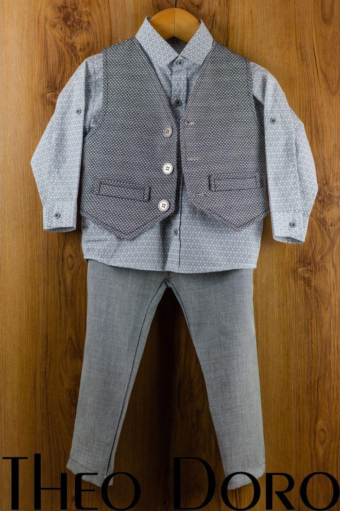 Baby Boy Baptismal Suit Gray