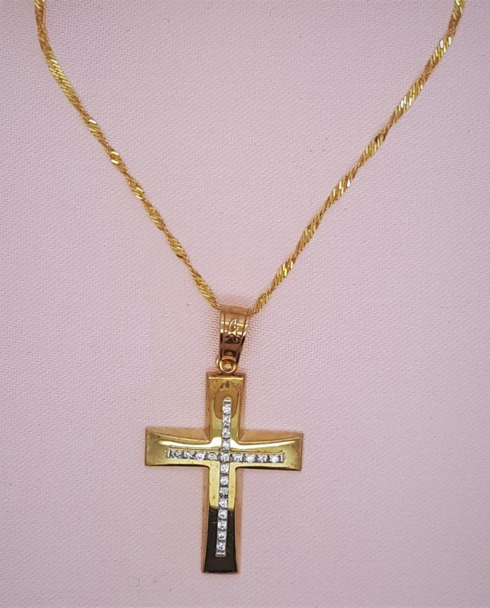 Gold Baptismal Cross with Crystals