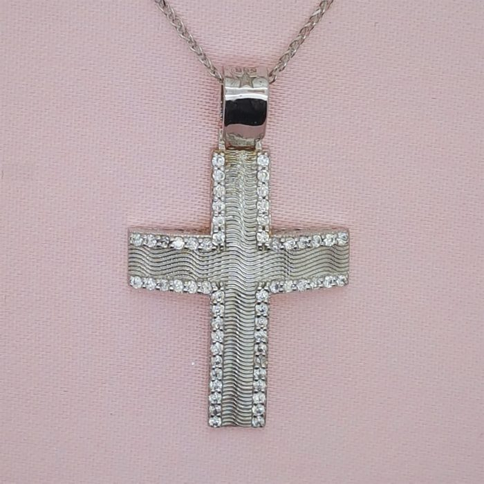 White Gold Baptismal Cross with Crystals