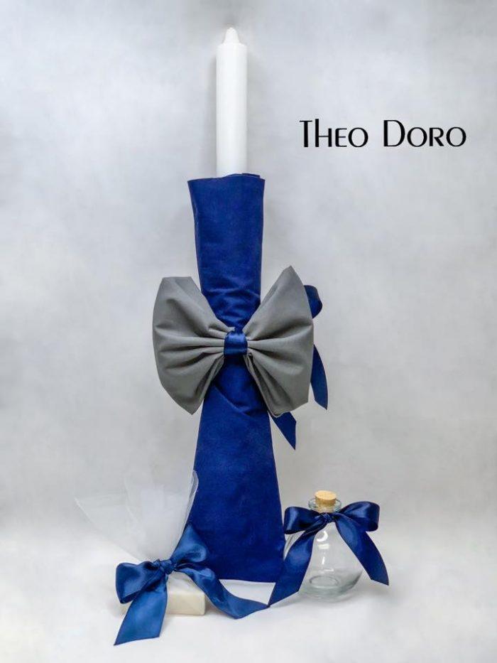 Blue Orthodox Baptismal 3 Candle Set
