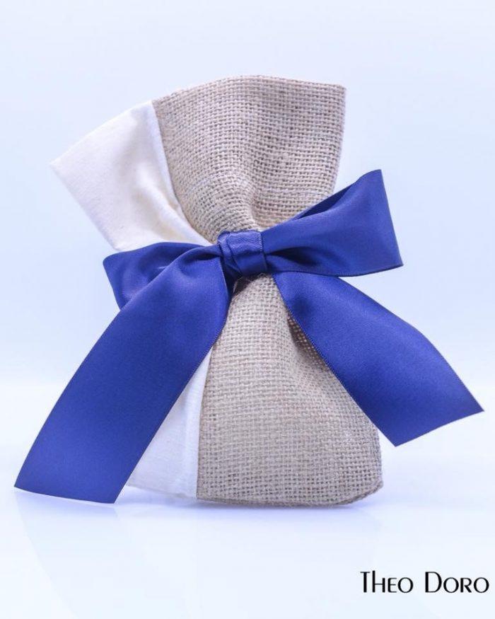 Burlap & White Cloth with Blue Wedding & Baptism Favors (Bobonieres)