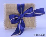 Burlap with Blue & Gold Wedding & Baptism Favors (Bobonieres)