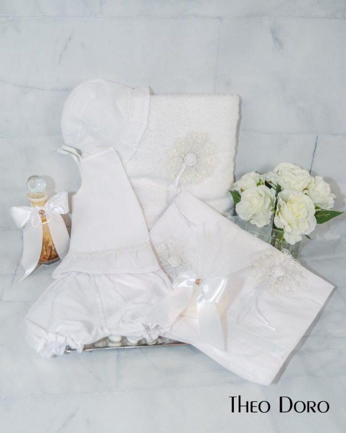 White Floral Oil Towel Baptismal Sheet Set