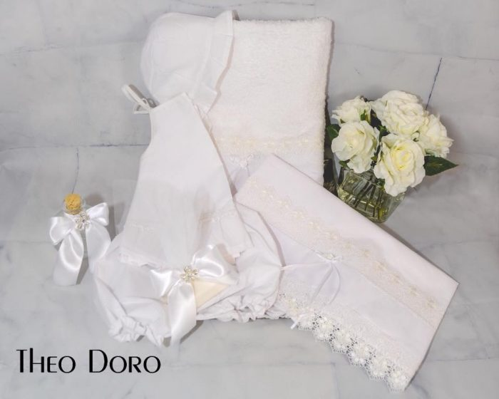 White Silk Oil Towel Baptismal Sheet Set with Lace