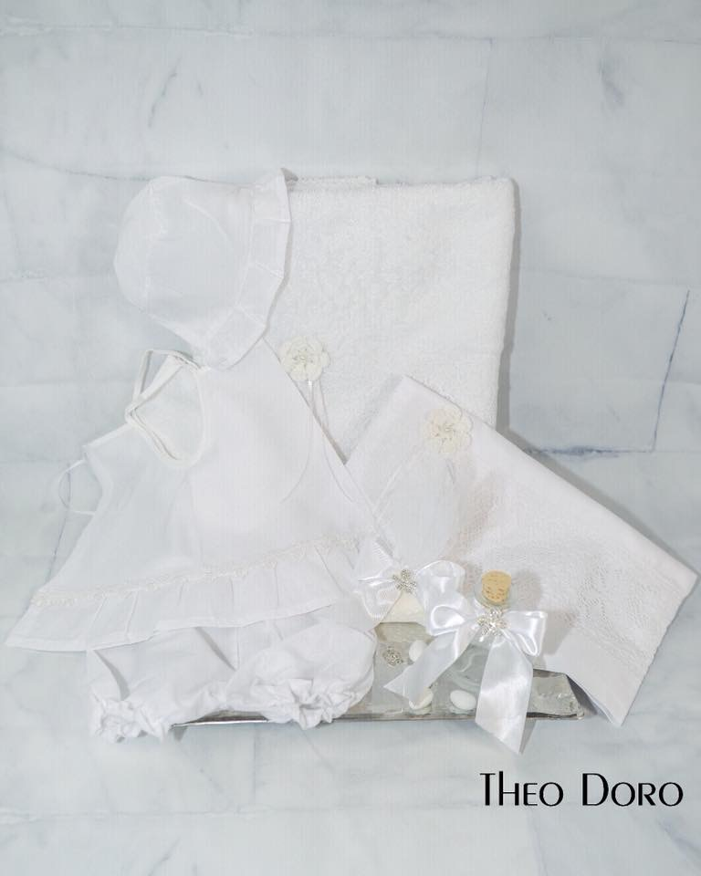 White Floral Oil Towel Baptismal Sheet Set with Lace