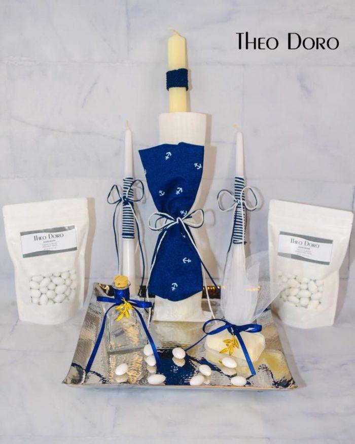 Little Sailor Oil Towel Baptismal Sheet Set Blue with Anchors