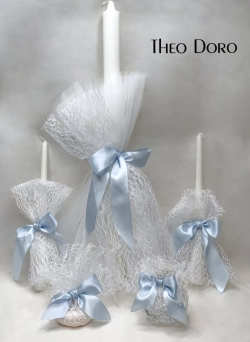 Orthodox Baptismal 3 Candle Set White & Blue
