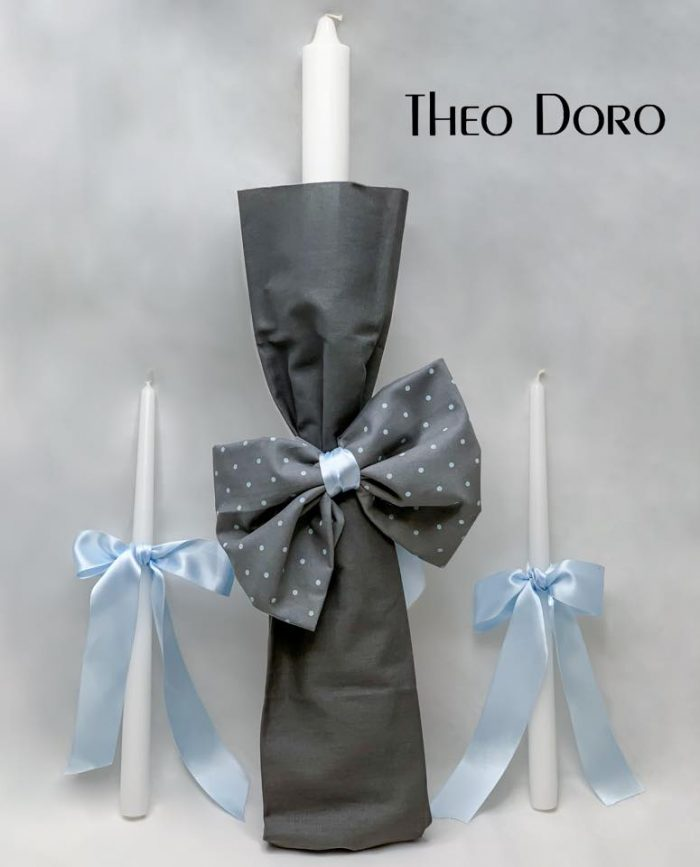 Orthodox Baptismal 3 Candle Set in Blue & Gray