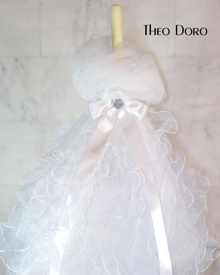 Orthodox Baptismal Candle with Pink Bow and Crystals