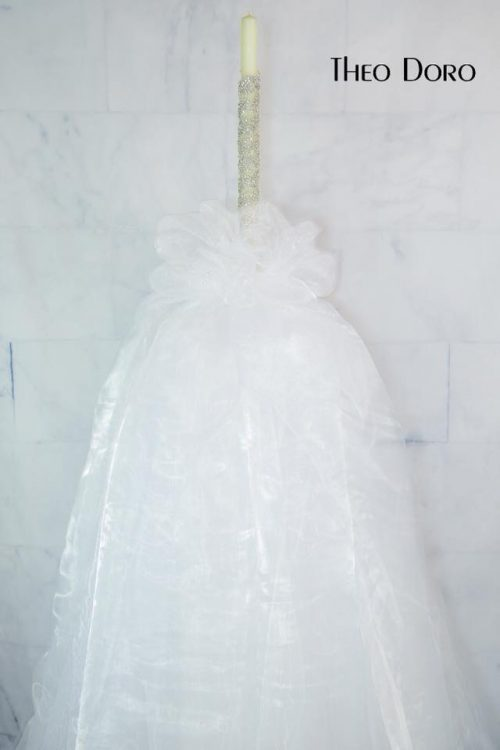 6' Tall Orthodox Beeswax Wedding Candle with Swarovski Crystals, Tulle and Organza.