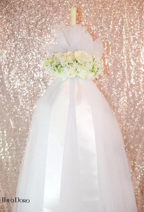 6' Tall Wedding Candle with Flowers