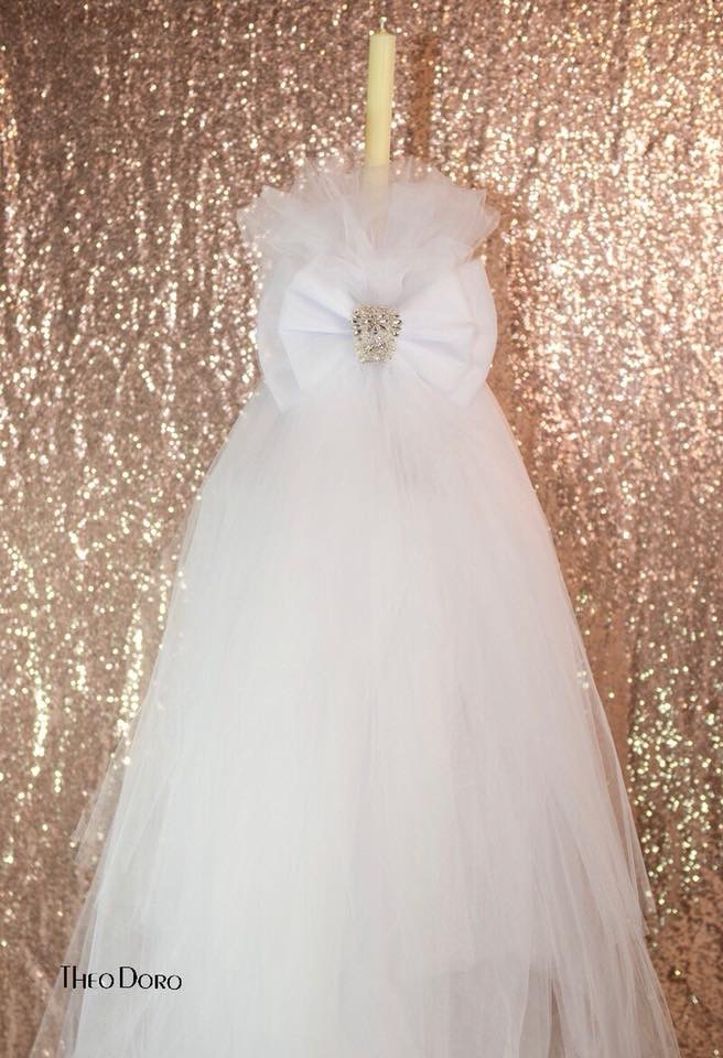 6' Tall Wedding Candle with White Bow and Silver Jewels