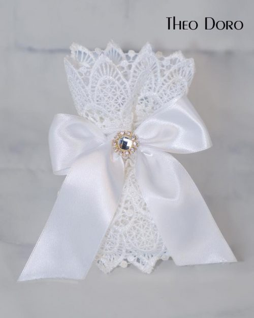 Favor w/ White French Lace, Crystals & Silk Bow Wedding & Baptism (Bobonieres)