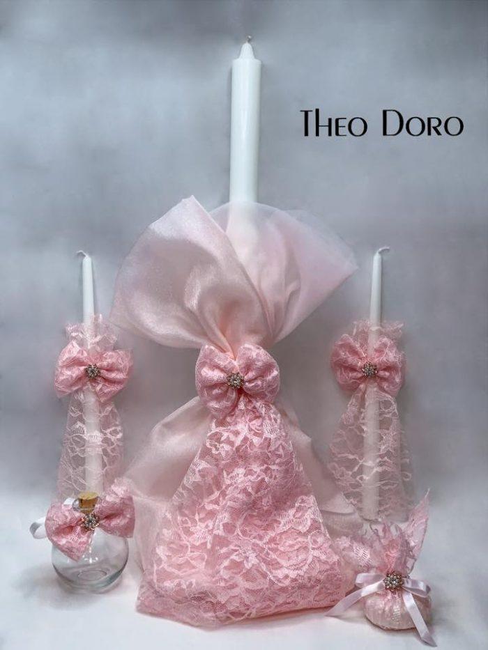 Pink Lace Orthodox Baptismal 3 Candle Set