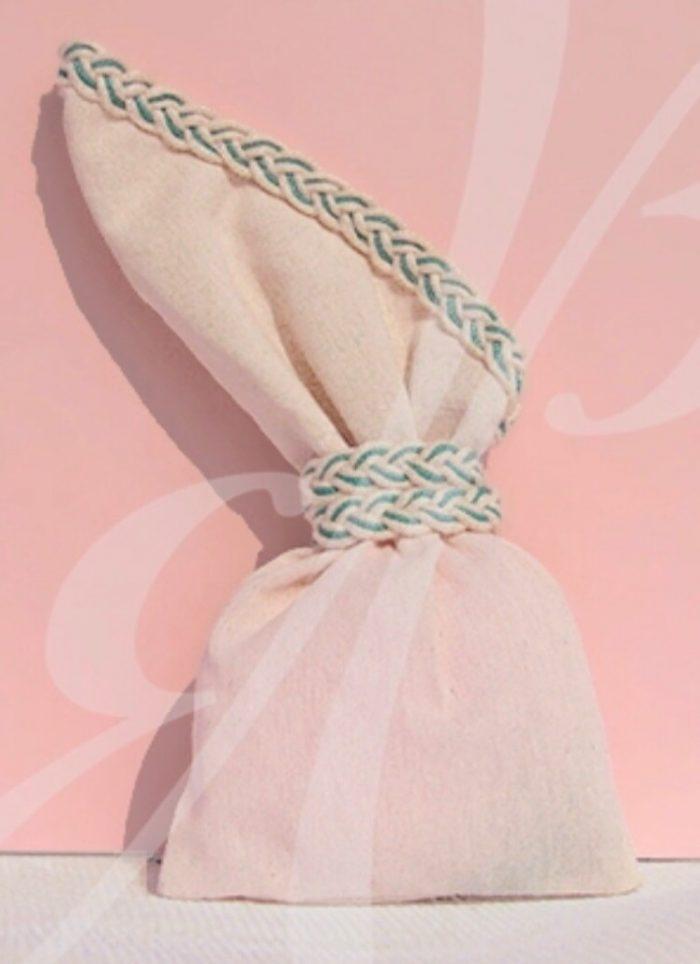Pink Linen Wedding or Baptism Favor Bobonieres