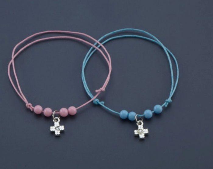 Silver Cross Orthodox Baptism Witness Bracelet w Beads