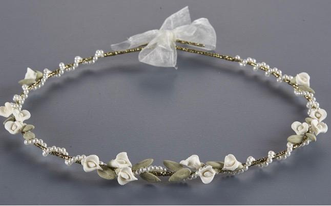 Orthodox Wedding Crowns, Stefana (White & Green Floral)
