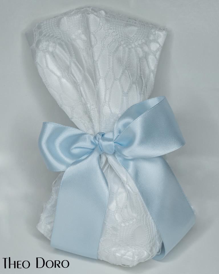 White with Blue Ribbon Wedding & Baptism Favors (Bobonieres)