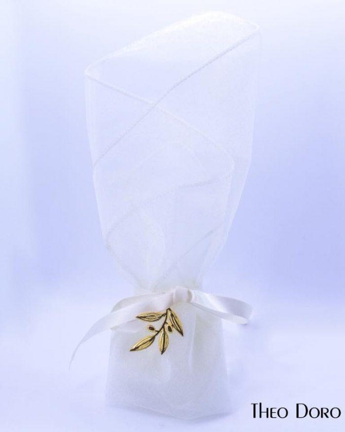 White with Gold Olive Leaf Wedding & Baptism Favors (Bobonieres)