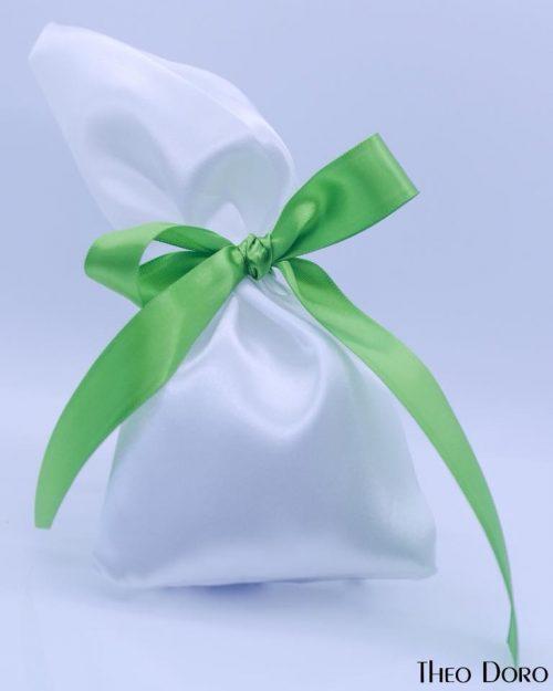 White with Green Ribbon Wedding & Baptism Favors (Bobonieres)