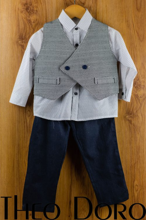 Baby Boy Light Gray Baptismal Suit Set
