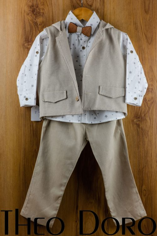 Baby Boy Light Brown Baptismal Suit Set w/ Bow Tie