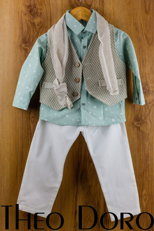 Baby Boy Green Baptismal Suit Set w/ Scarf