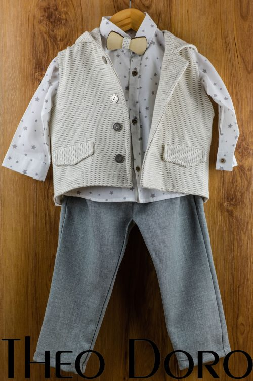 Baby Boy Gray Baptismal Suit Set w/ Bow Tie
