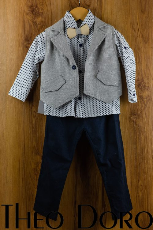 Baby Boy Navy Blue Baptismal Suit Set w/ Bow Tie
