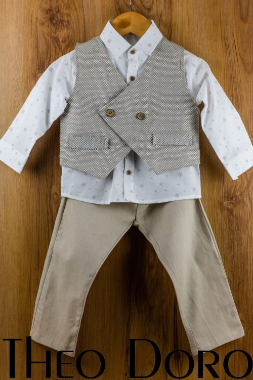Baby Boy Brown Baptismal Suit Set
