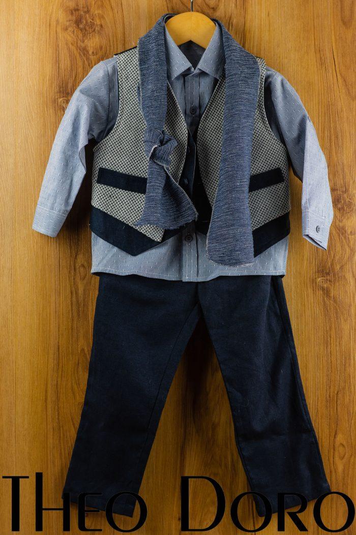 Baby Boy Blue Baptismal Suit Set w/ Scarf