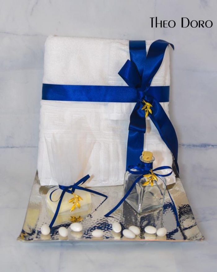 Greek Keys Oil Towel Baptismal Sheet Set