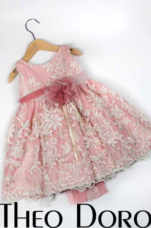 Baby Girl Pink Floral Baptismal Dress