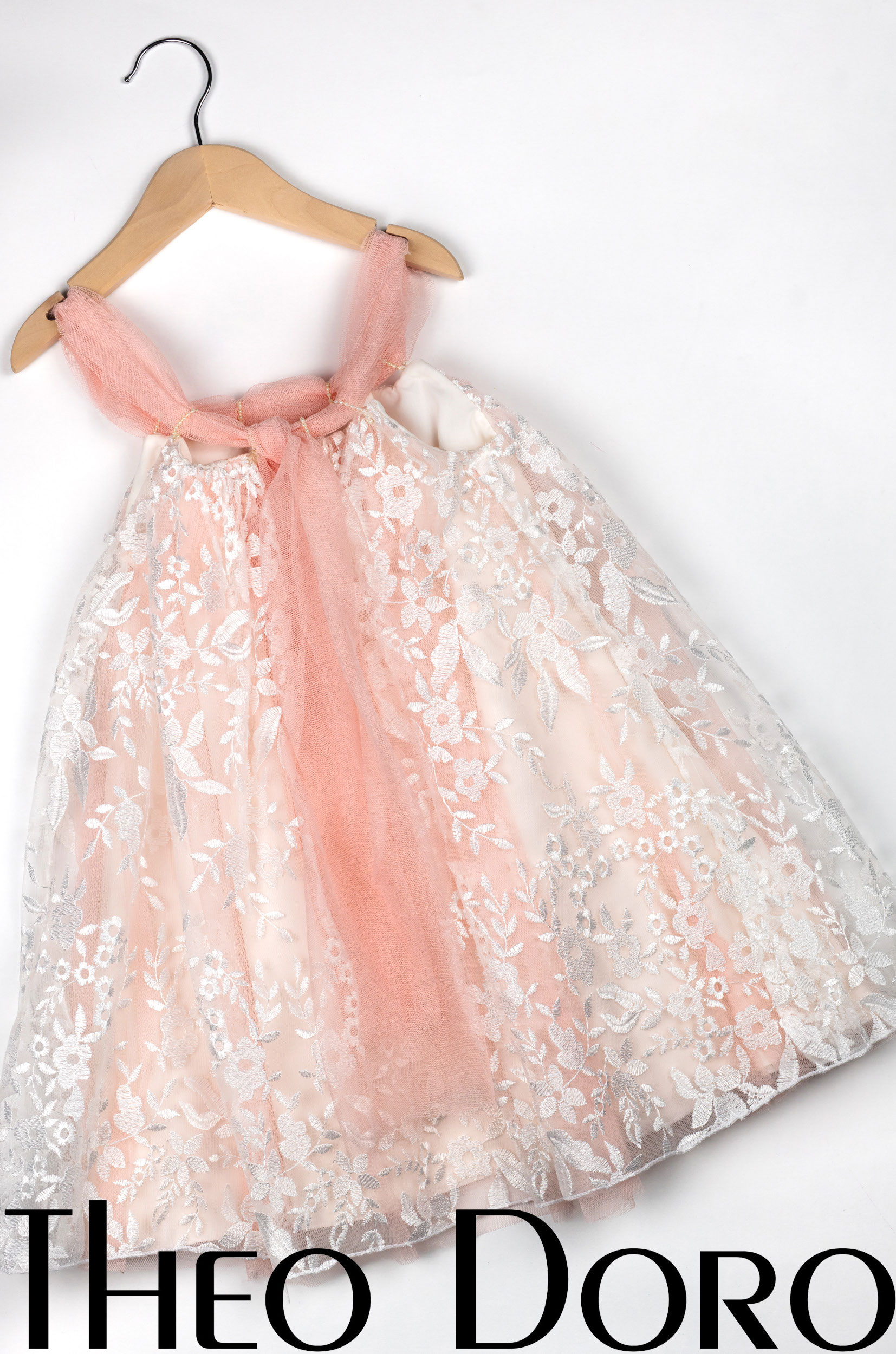 Baby Girl Light Pink Lace Floral Baptismal Dress with Ribbon