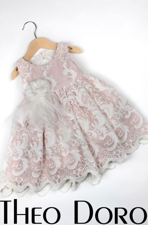 Baby Girl Pink Floral Baptismal Dress with Flower