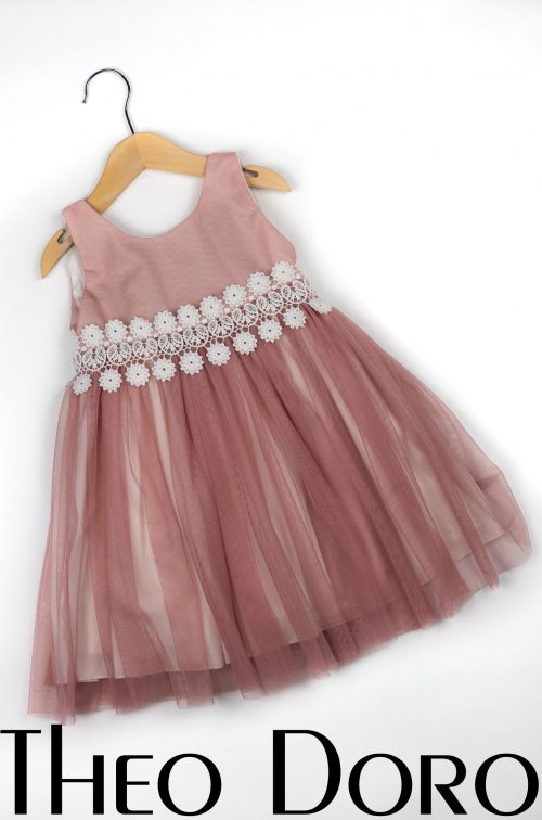 Baby Girl Pink Baptismal Dress with Flowers