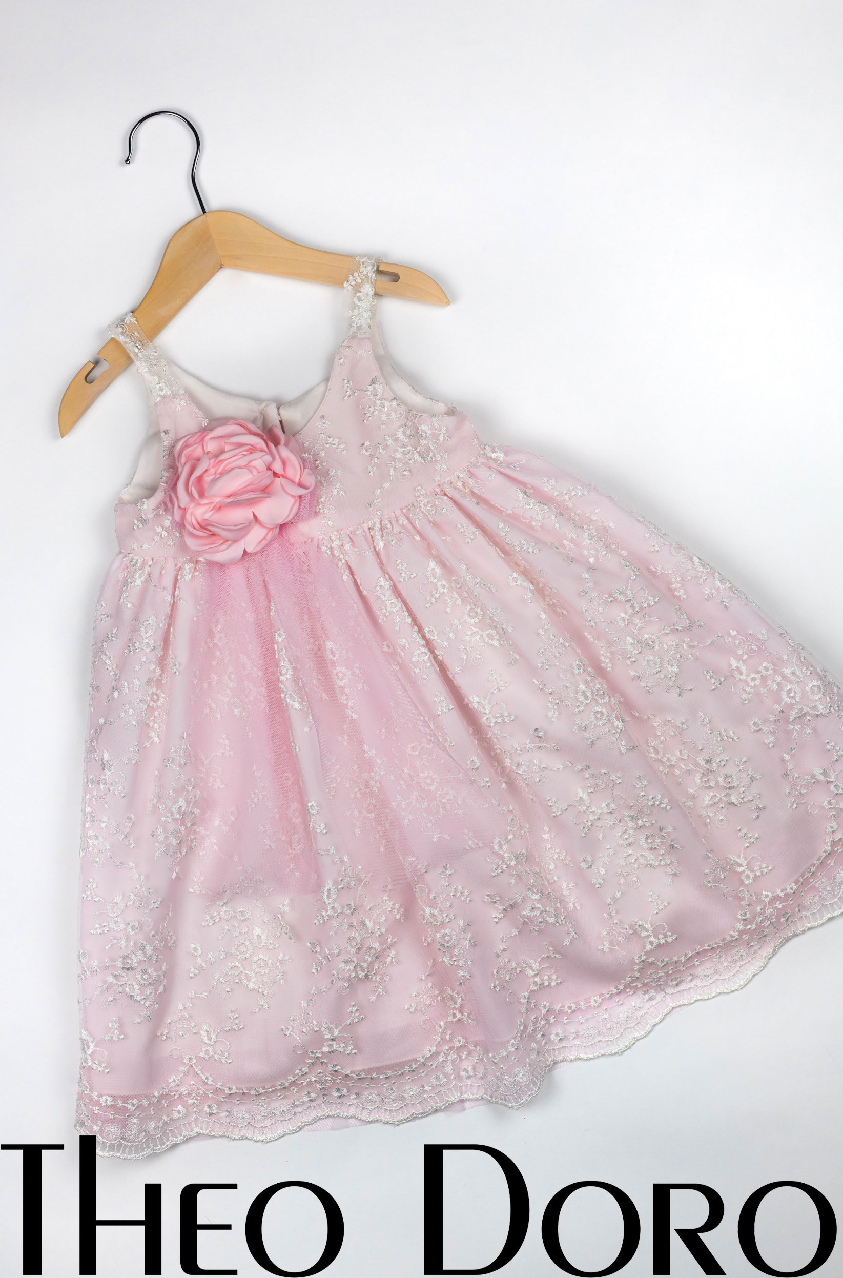 Baby Girl Pink Baptismal Dress with Rose Blossom