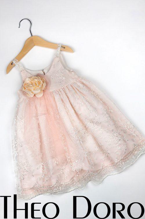 Baby Girl Light Pink Baptismal Dress with Rose Blossom