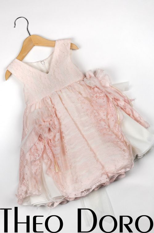Baby Girl Light Pink Floral Baptismal Dress with Ruffles