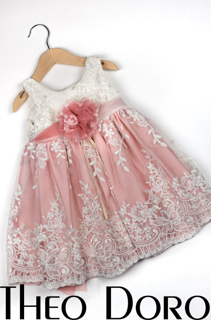 Baby Girl Pink & White Floral Baptismal Dress with Pink Bow