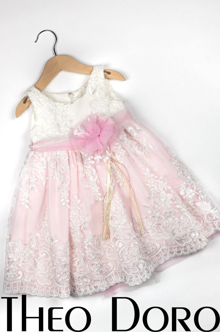 Baby Girl Light Pink & White Floral Baptismal Dress with Pink Bow