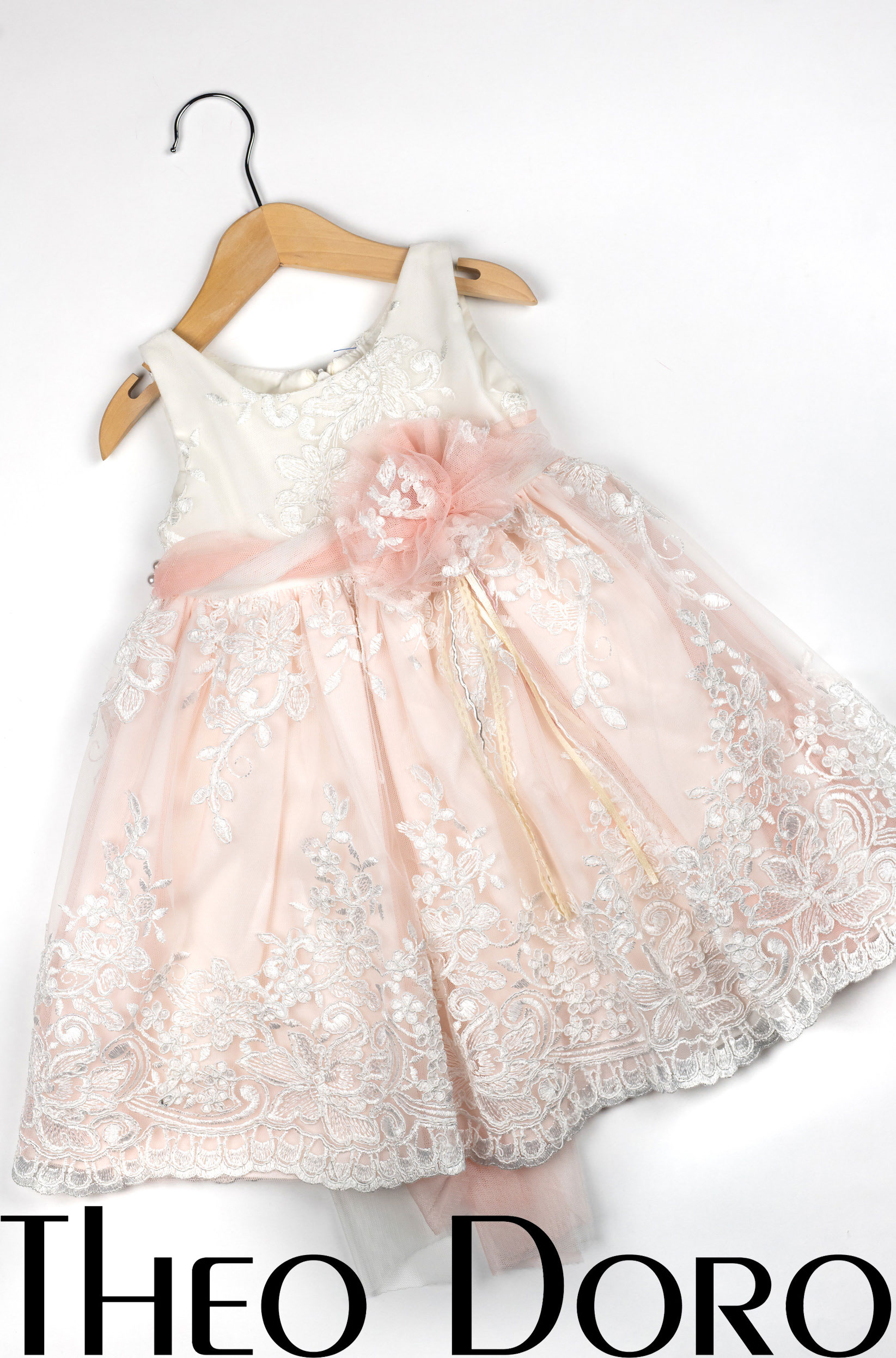 Baby Girl Light Pink & White Floral Baptismal Dress with Matching Bow