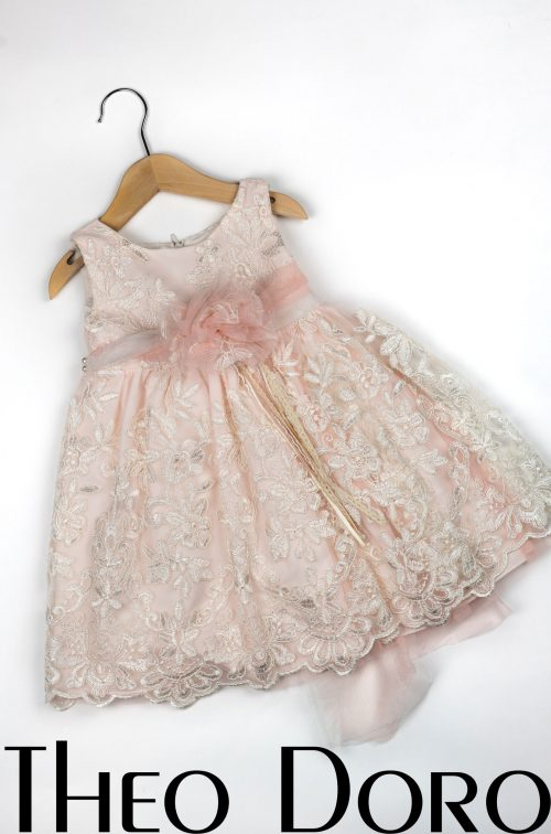Baby Girl Light Pink and White Floral Baptismal Dress