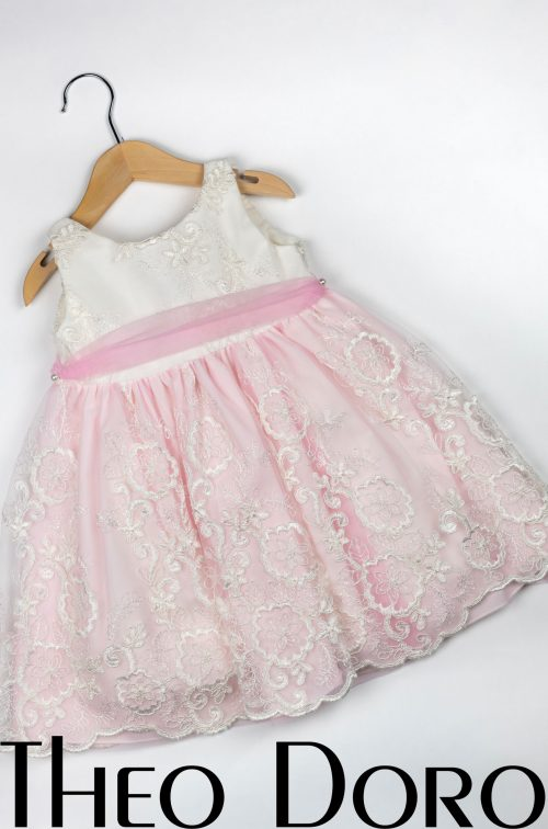 Baby Girl Light Pink & White Floral Baptismal Dress with Ribbon