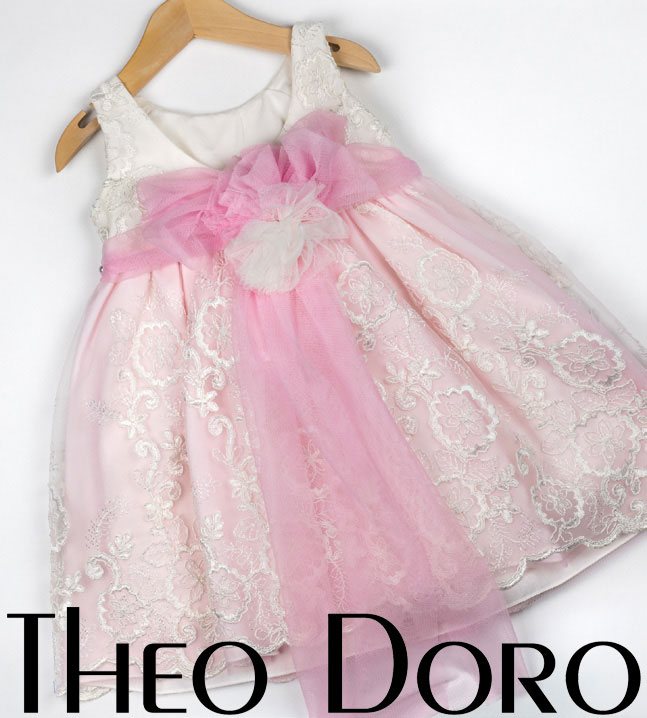 Back Baby Girl Light Pink & White Floral Baptismal Dress with Ribbon
