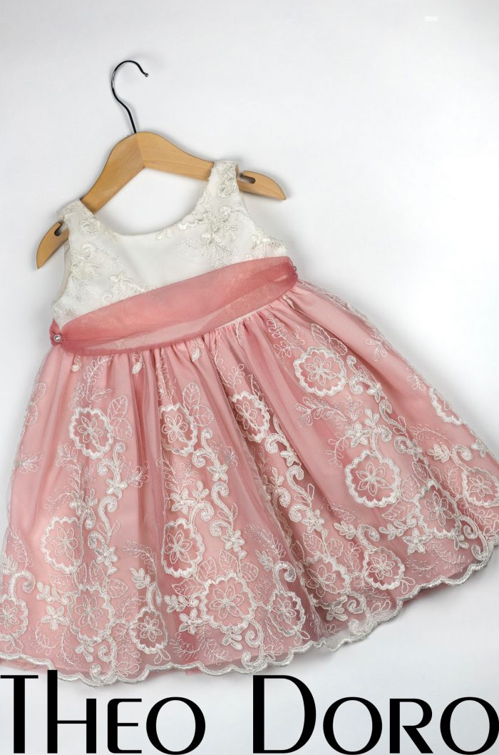Baby Girl Pink & White Floral Baptismal Dress with Ribbon