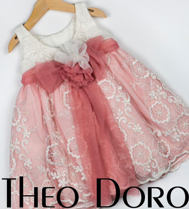 Back Baby Girl Pink & White Floral Baptismal Dress with Ribbon