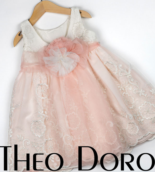 Back Baby Girl Light Pink & White Floral Baptismal Dress with Matching Ribbon