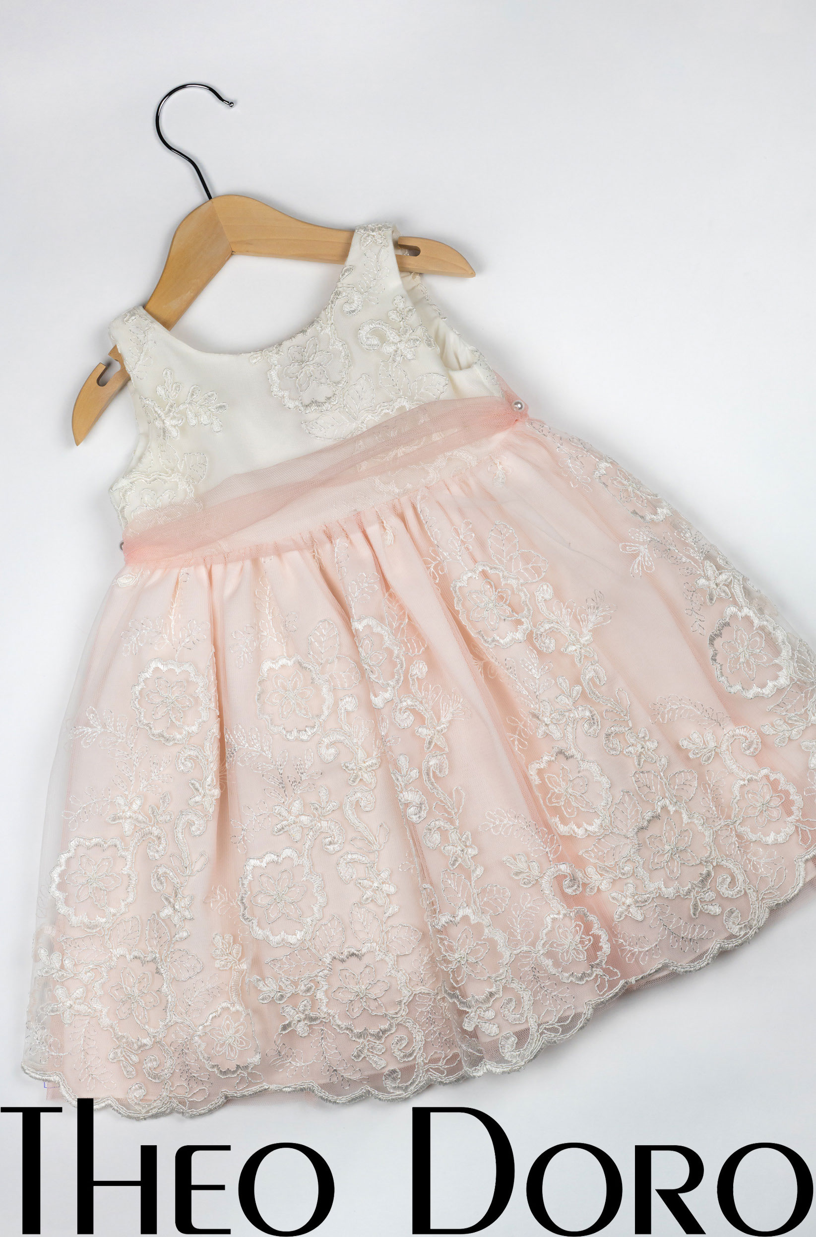 Baby Girl Light Pink & White Floral Baptismal Dress with Matching Ribbon